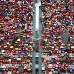 Thousands of love locks which sweethearts placed on the Hohenzollern Bridge  in Koln, Germany
